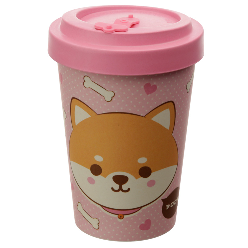 Bamboo Composite Shiba Inu Dog Reusable Screw Top Travel Mug