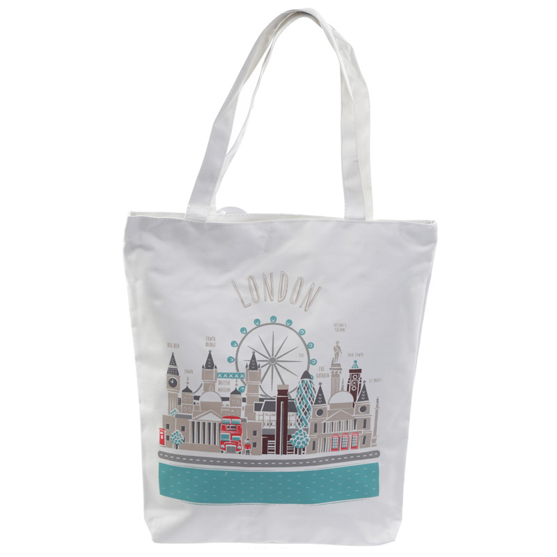 Handy Cotton Zip Up Shopping Bag - London Icons