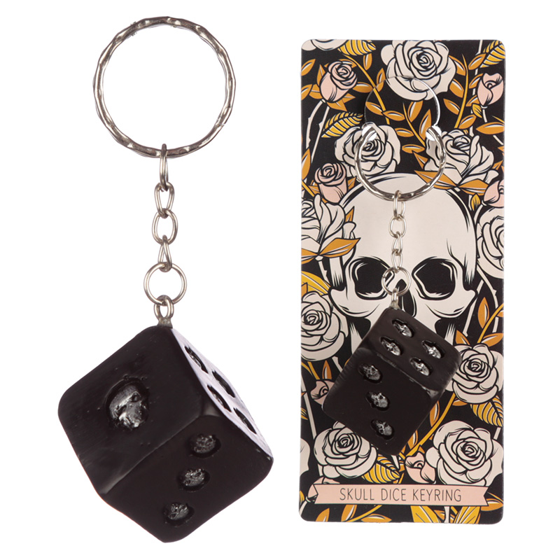 Collectable Skulls and Roses Dice Keyring