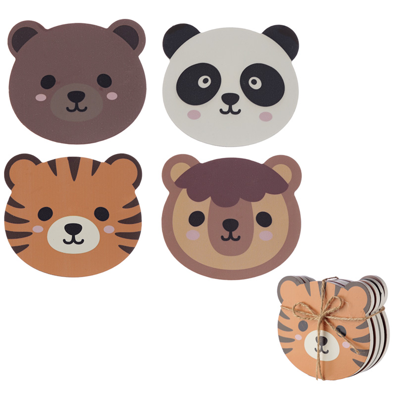 Set of 4 Novelty Coasters - Cute Animals Design
