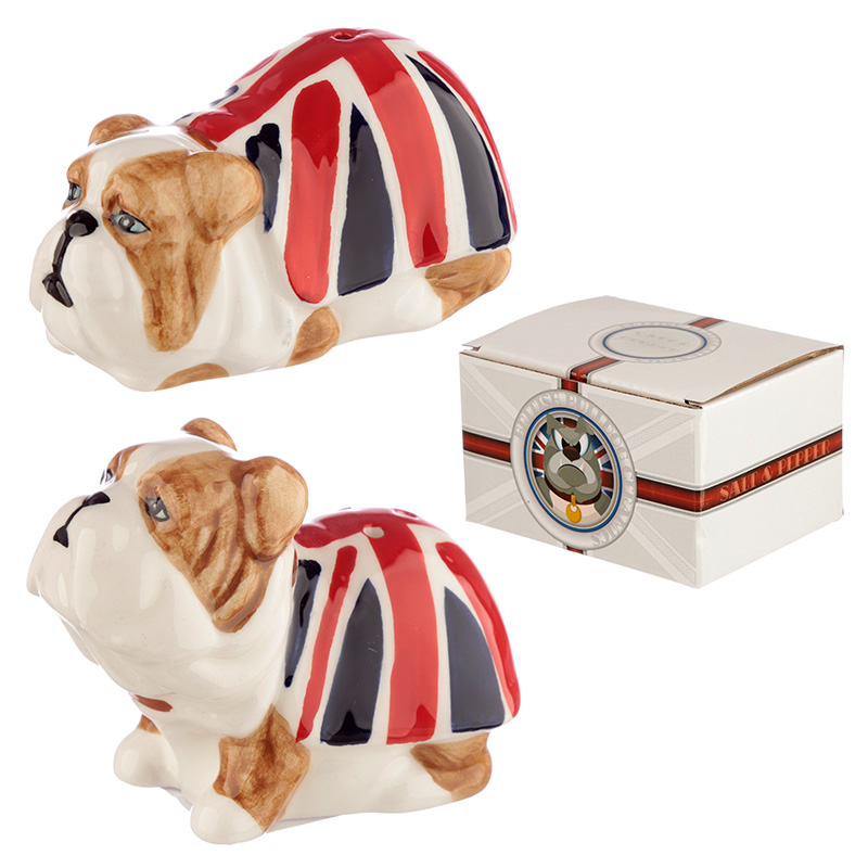 Fun Ceramic Union Flag British Bulldog Salt and Pepper Set