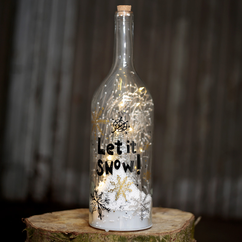 Musical LED Christmas Snowstorm - Let it Snow Bottle Shaped