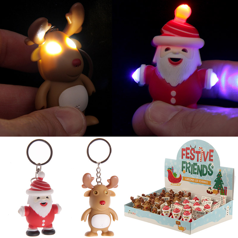 Funky Christmas Light Up and Sound Key Ring