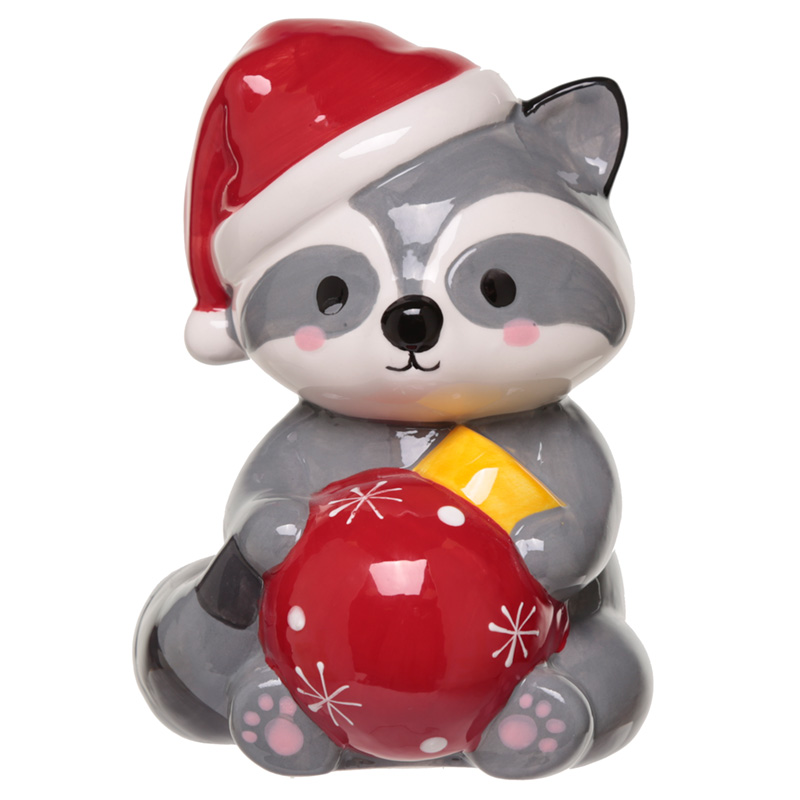 Collectable Ceramic Racoon Christmas Money Box